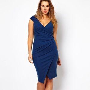 ASOS Curve Bodycon Ruched Asymmetric Hem Dress